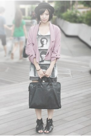 black Esprit bag - black shoes - pink Baby Face jacket - black hat - white Monom