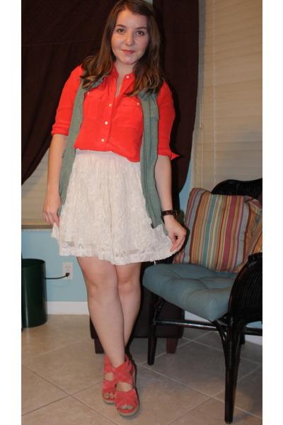 J Crew blouse - H&M skirt - Crewcuts vest - Dolce Vita wedges