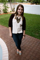 tory burch shoes - PacSun jeans - ae cardigan - Forever 21 necklace - vintage bl