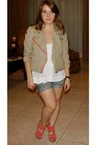 J Crew jacket - madewell shorts - Forever21 top - Dolce Vita wedges