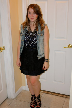 Aldo wedges - J Crew skirt - Forever 21 top - J Crew vest