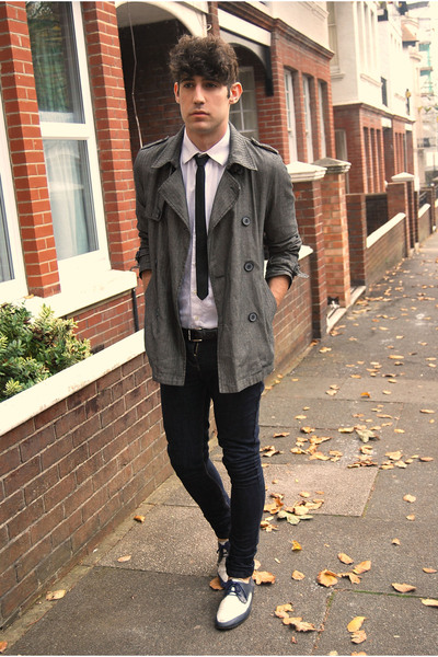vintage tie - vintage shoes - Topman coat - april 77 jeans - Prada shirt