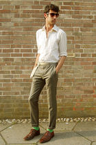 beige shirt - beige belt - silver pants - green socks - brown shoes