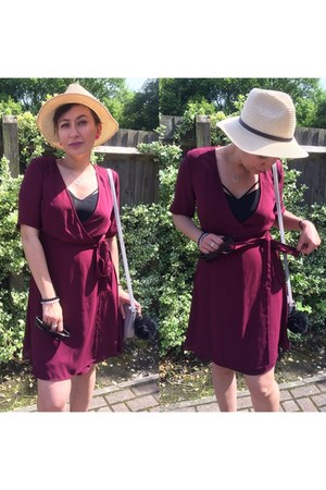 burgundy new look dress - straw hat new look hat