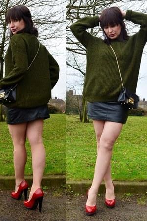 khaki Topshop sweater - black leather Furla bag - red leather Carvela heels