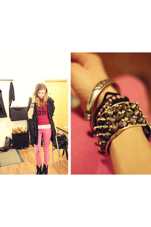 bubble gum H&M Trend jeans - black Dr Martens boots - hot pink H&M Trend sweater