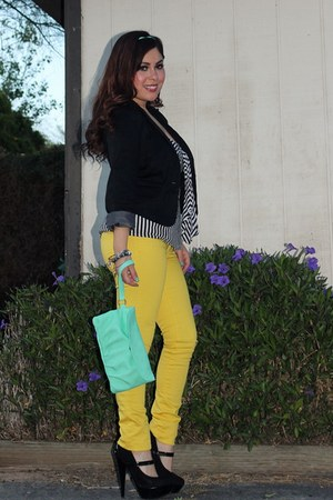 aquamarine Target bag - yellow Mossimo jeans - black papaya blazer