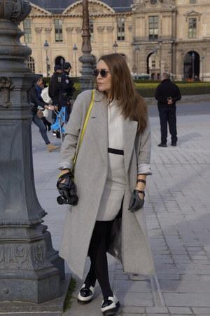 black H&M shoes - black Bruuns Bazaar dress - heather gray COS coat