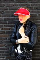 black Acne Studios jacket - red Prada sandals - black H&M pants