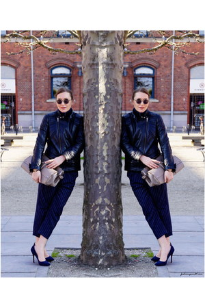 heather gray Decadent Copenhagen bag - navy H&M pants - blue whistles pumps