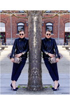 heather gray Decadent Copenhagen bag - navy H&M pants - blue whistles pumps