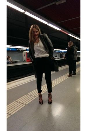 gray Zara coat - cream Zara top - black BCBG pants - black Zara heels
