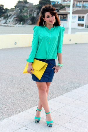 aquamarine Primark shoes - yellow asos bag - navy H&M skirt