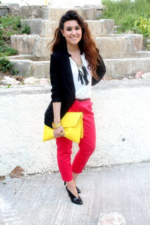 black Forever21 blazer - yellow asos bag - white Zara top