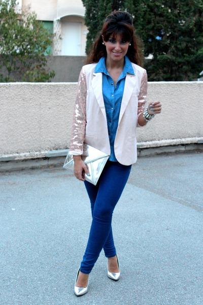 light pink Forever 21 blazer - navy Zara jeans - silver H&M bag