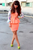 white Zara blazer - light orange Zara dress - lime green Ebay heels