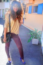 gold top - brick red Zara pants - purple heels