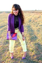 red asos bag - light yellow asos jeans - purple Zara blazer