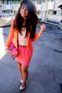 Salmon-h-m-skirt-orange-zara-blazer-neutral-h-m-top