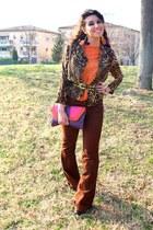 orange Zara top - burnt orange new look jacket - purple Primark bag