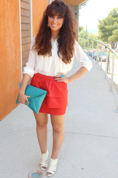 red H&M skirt - turquoise blue asos bag - white Zara blouse