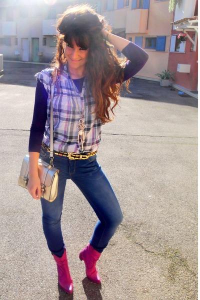 magenta Jelonini boots - navy Zara jeans - silver asos bag
