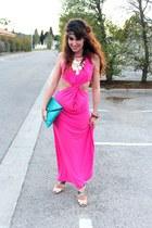 hot pink dressrail dress - turquoise blue asos bag - gold Topshop necklace