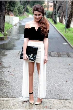 black asos bag - eggshell River Island skirt - black Nasty Gal top