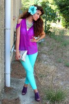 aquamarine H&M accessories - silver H&M bag - purple Forever 21 blouse