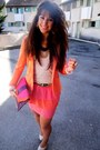 Orange-zara-blazer-salmon-h-m-skirt-neutral-h-m-top