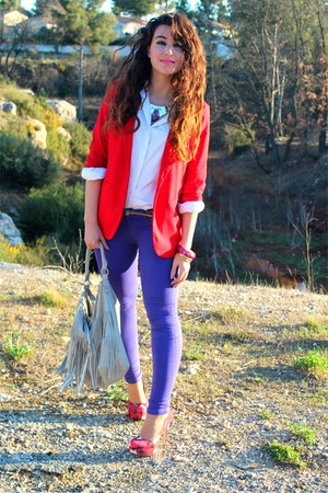 red Forever 21 blazer - heather gray H&amp;M bag - white Kookai blouse