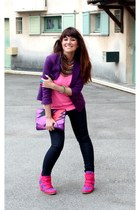 deep purple Zara blazer - hot pink shoes - purple asos bag - yellow H&M necklace