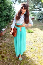 aquamarine fame skirt - sky blue H&M shirt - burnt orange fame belt