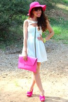 hot pink New Yorker hat - white asos dress - hot pink asos bag