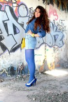 blue vintage shirt - sky blue camaieu tights - yellow asos bag