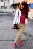 hot pink boots - eggshell vintage blazer - black bag - tan H&M pants