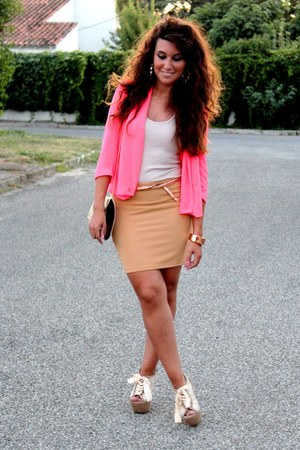 hot pink fame jacket - bronze new look bag - bronze fame skirt