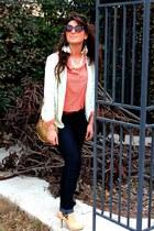 navy camaieu jeans - light pink boots - lime green Zara blazer - gold H&M bag
