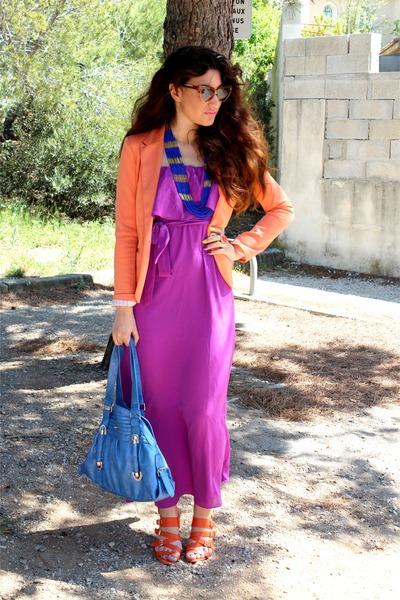 amethyst Forever 21 dress - light orange Zara blazer - blue Forever 21 necklace