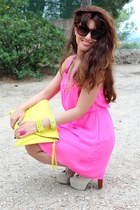 hot pink H&M dress - eggshell Ebay boots - yellow asos bag