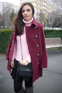 Ruby-red-burgundy-persunmall-coat-light-pink-knit-sweater-black-bag