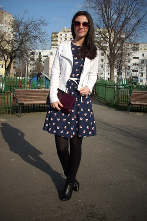 navy PERSUNMALL dress - ruby red PERSUNMALL coat