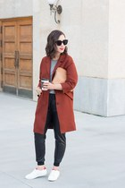 burnt orange oversized Zara coat - tan 31 Phillip Lim bag