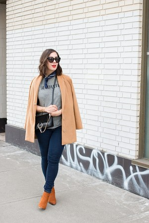 camel oversized Revolve coat - tawny suede Aldo boots - black faye Chloe bag