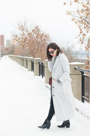 heather gray oversized won hundred coat - black Aldo boots