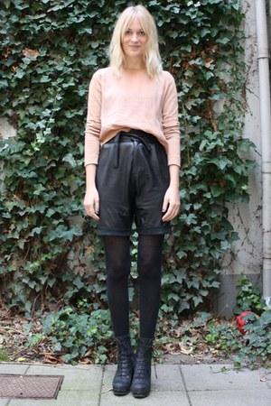 black gestuz shorts - black acne boots - nude COS top