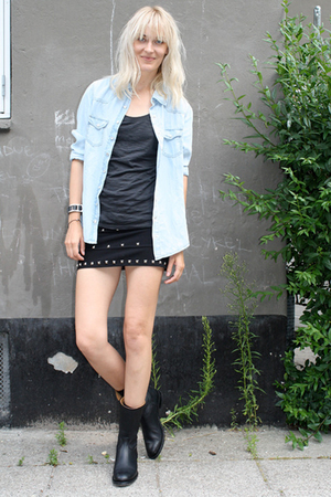 black Munderingskompagniet boots - blue zara Zara shirt - black diy DIY skirt
