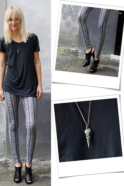 weekday leggings - H&M shoes - whyred t-shirt - vintage from Ebay necklace