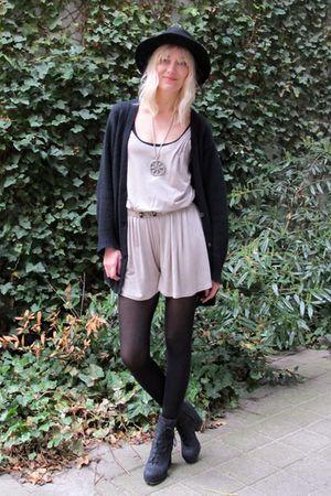beige Topshop panties - black acne boots