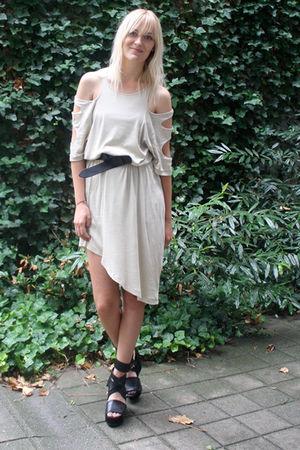 beige weekday dress - black acne shoes - black H&M belt